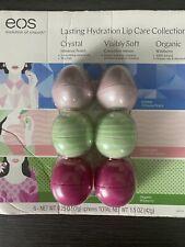 Eos Lasting Hydration Lip Balm - 6 Pack (2 Hibiscus Peach, 2 Cucumber Melon,...