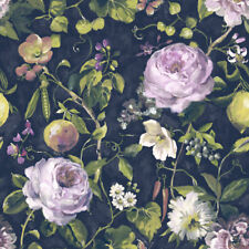 Miracle Navy & Multi Floral & Fruit Botanical Wallpaper - 10m Roll - NEW DESIGN
