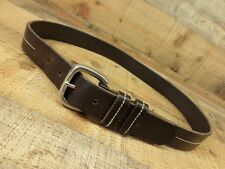 Stitched Pebbled Leather Belt Solid Brass Buckle England 30 32