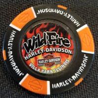 Harley Davidson FULL COLOR Poker Chip(Black/Orange)WILDFIRE HD,IL~17th BDay Bash