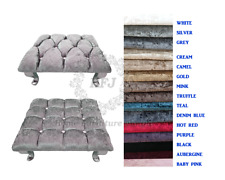 Chesterfield Cube Footstool Crushed Velvet Queen Anne Style Legs 15 Colours