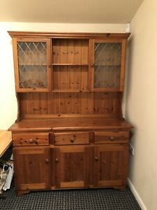 Beautiful Solid Pine Welsh Dresser With Leaded Glass Doors