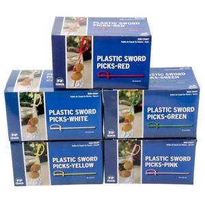 1000 Royal Plastic Cocktail Appetizer Swords Picks Toothpicks - 6 Color Choices!