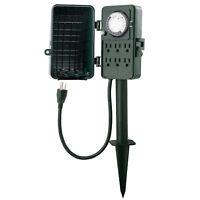 BN-LINK 24 Hour Outdoor Mechanical Timer 6 Outlets Garden Power Stake Waterproof