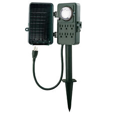 24 Hour Outdoor Mechanical Timer 6 Outlets Garden Power Stake Waterproof