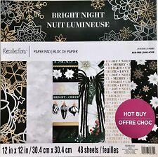 NEW Recollections BRIGHT NIGHT 12x12 48 Paper Holiday Christmas Gold Black White
