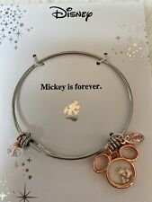 "New Disney 14Kt Gold Flash Plated Bracelet ""Mickey is Forever"" Rose Gold Charm"