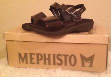 NIB $205 MEPHISTO ACCALIA Black REPTILE PATENT Sandals Shoes 35 Womens 5 M