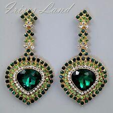 18K Gold Plated GP Green Crystal Rhinestone Chandelier Drop Dangle Earrings 9322