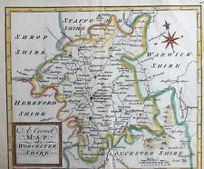 UK Worcestershire 1748 A Correct Map by Hutchinson antique map