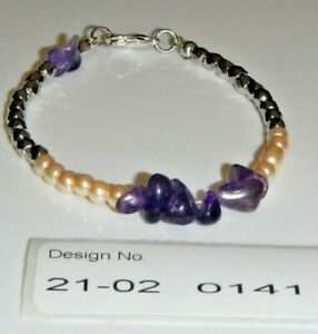 Gemstone Bracelet, AMETHYST-flux pearls-facilitates- spiritual   21020141