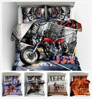 3D Motorcycle Racing Bedding Set Duvet Cover Pillowcase Comforter Quilt Cover