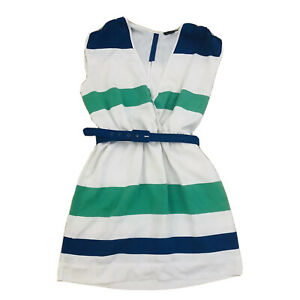 Bebe Mini Dress Navy & Green Stripe Belted Women's Size Small