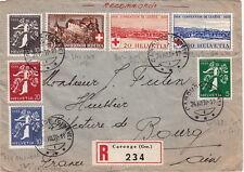 Lettre Switzerland Recommandé CAROUGE pour la France 1939 Cover