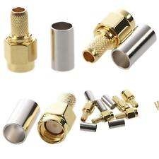5 Piezas Sma Macho Conector RF Coaxial Crimpado para RG58 RG142 RG400 LMR195