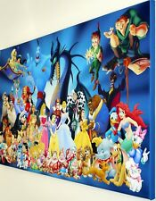 DISNEY CHARACTERS CANVAS  PRINT WALL ART PICTURE   18 X 32 INCH