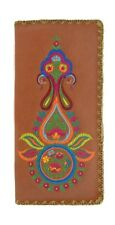 LAVISHY INDIAN PAISLEY EMBROIDER LARGE WALLET VEGAN FAUX LEATHER NEW 97-187 BRN