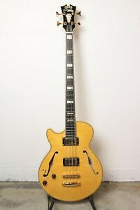 D'Angelico Excel Bass Semi-Hollow Bass Guitar - Left Handed - Natural Tint
