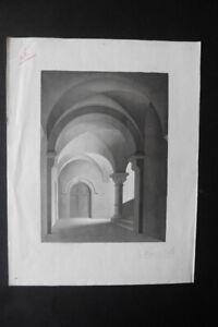 ITALIAN SCHOOL 19thC - INTERIOR OF A MONASTERY - INK DRAWING SIGNED FINZI