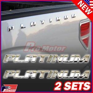 2 Set Platinum Letter F150 F250 Hood Trunk Bedside Nameplate Emblem Badge