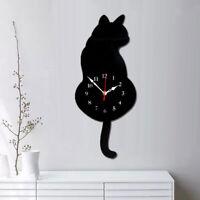 Tail-wagging Black Cat Wall Clock Pendulum Clock Home Kids Bedroom Decor