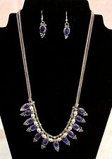 Blue Crystal Rhinestone Silver Necklace,  Earring  Set
