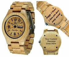 Wood Watch - Customizable - Personal Message Laser Engraving