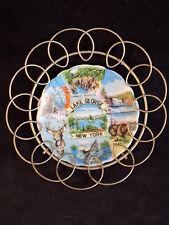 VINTAGE LAKE GEORGE NEW YORK Decorative plate Japanese Porcelain w/ metal holder