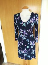 Ladies TU Dress Size 12 Navy Butterfly Stretch Jersey Smart Casual Day Party