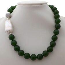 "White Keshi Pearl Necklace K061207 19"" 16Mm Green Jade"