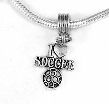 Football charm Fits European style bracelet Soccer charm I love soccer charm