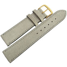 20mm Mens Fluco Light Grey Suede Leather GOLD Buckle German Watch Band Strap