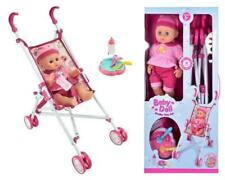 More details for interactive baby doll with stroller set buggy pram girls christmas gift toy