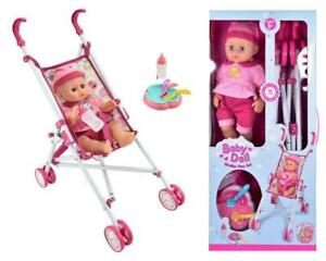 Interactive Baby Doll With Stroller Set Buggy Pram Girls Christmas Gift Toy