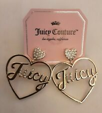 Juicy Couture Gold Tone Cursive Double Heart Large Crystals Earrings