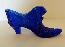 COLBALT BLUE VINTAGE GLASS SHOE FENTON ART GLASS BLUE GLASS SHOE