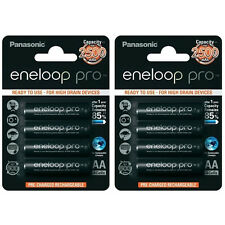 8x Panasonic Eneloop Pro AA Rechargeable LSD NiMH Batteries - JAPAN MADE