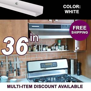 36in ultraLEDGE White Metal Floating Over-the-Range Shelf / Spice Rack