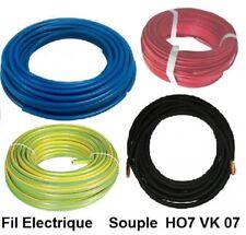 Fil électrique souple HO7-VK 16 mm² - 2 ou 5 mètres  Bleu Rouge Noir  Vert-Jaune