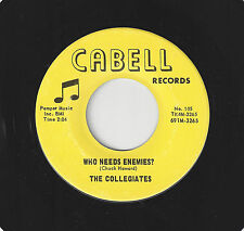 ♫COLLEGIATES Who Needs Enemies?/Only You Can Make Me Well Cabell 105 ROCK 45RPM♫