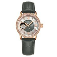Stuhrling 3952 3 Legacy Automatic Skeleton Crystal Accented Leather Womens Watch