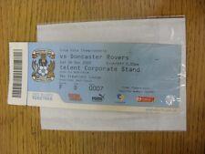 26/12/2009 BIGLIETTO: COVENTRY CITY V Doncaster Rovers (creazioni Sky Lounge, Fade