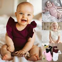 Newborn Infant Baby Kid Solid Ruffle Romper+Headband Bodysuit Sunsuit Outfit AU