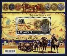 Mongolei Mongolia 2017 Block 434 Münzen Seidenstraße Kamele Landkarte Tor MNH