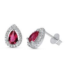 Ruby Pear Shape Halo Cz Stud .925 Sterling Silver Earrings