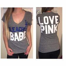 PINK Victoria's Secret VS Gray LA Dodgers Babe Blue Sleeve Top T Shirt Medium