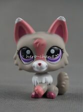 Littlest Pet Shop LPS #1921 Grey Pink White Wolf Cat Purple Eyes Girl Toys Gift