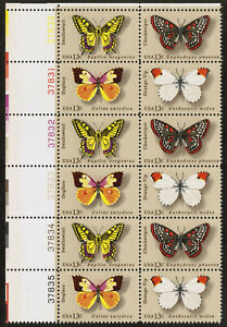 US USA Sc# 1715a MNH FVF PLATE# BLOCK Butterfly Dogface Swallowtail Checkerspot
