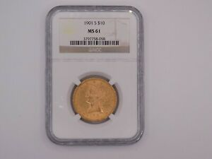 1901 S  Gold Liberty Eagle MS 61 NGC Certified Luster Excellent Eye Appeal