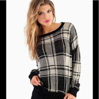 Tobi Black and Cream Plaid Sweater